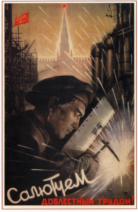 Saluting with a heroic work! - Soviet Art