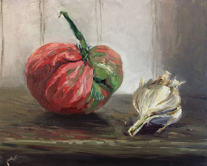 heirloom tomato and garlic - will harmuth