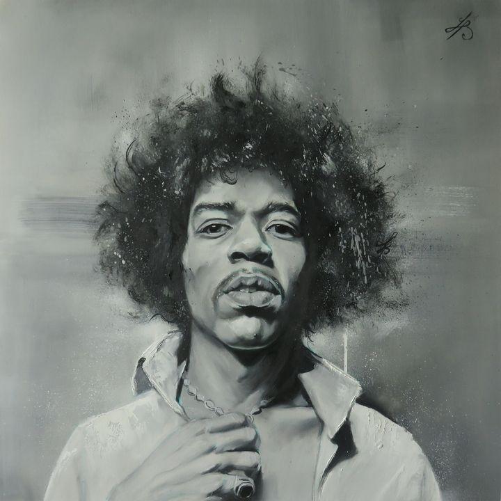 Jimi Hendrix portrait black and whit - Juan Barco