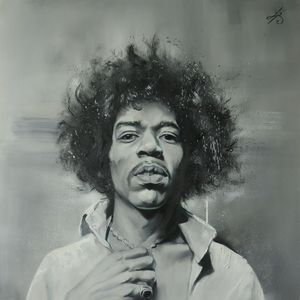 Jimi Hendrix portrait black and whit