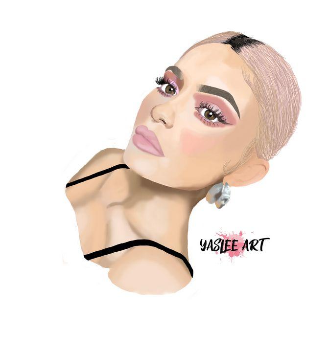 Kylie Jenner Digital Paintinf - Yas Lee Art