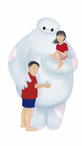 Baymax with kids