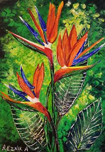 Bird of Paradise flowers 100*70*1.5 - Anna Reznik Art