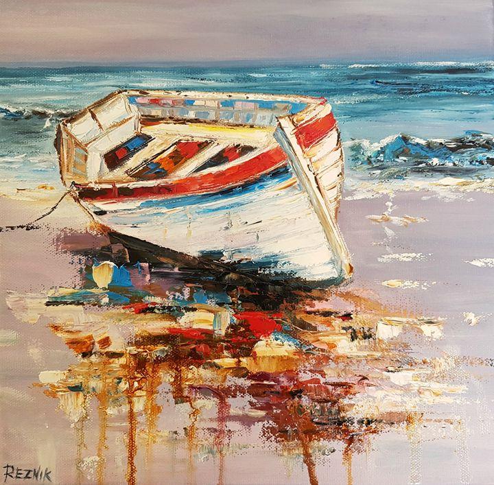 Boat 30*30*1 cm - Anna Reznik Art