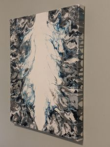 Abstract fluid art in blue/silver