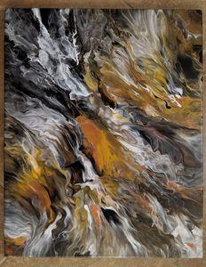Fluid art in metallics