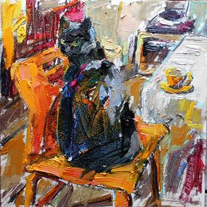 Black cat & orange chair (2019)
