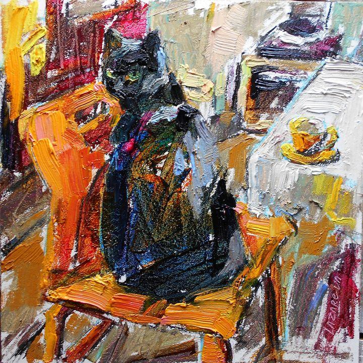 Black cat & orange chair (2019) - Valerie Lazareva