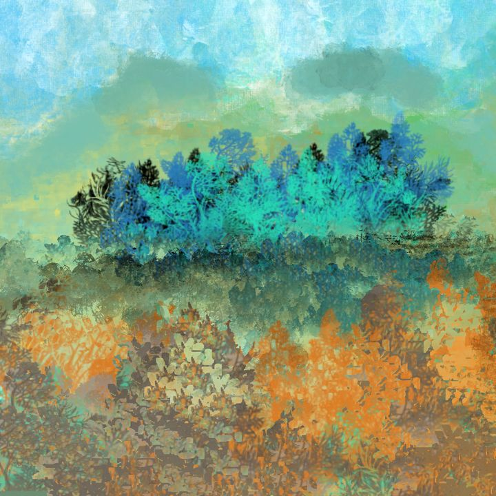 Blue and Green Trees Landscape - JHughes Works of Art