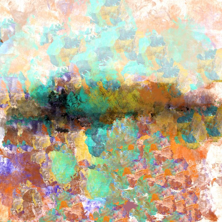 Colorful Treeline and Meadow - JHughes Works of Art