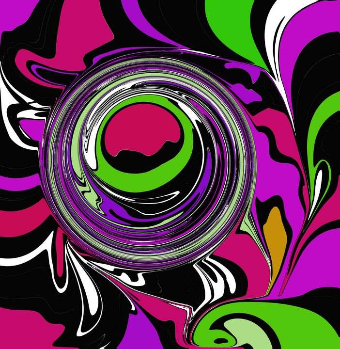 Pink, Green, Purple Wild Abstract - JHughes Works of Art