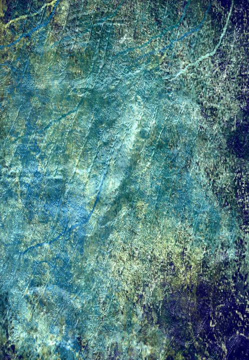 Blue Rock with Gold Textures - JHughes Works of Art