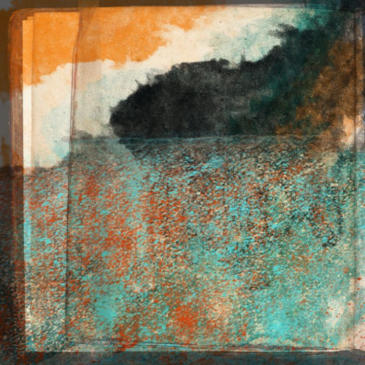 Aqua and Orange Paper Layers - JHughes Works of Art