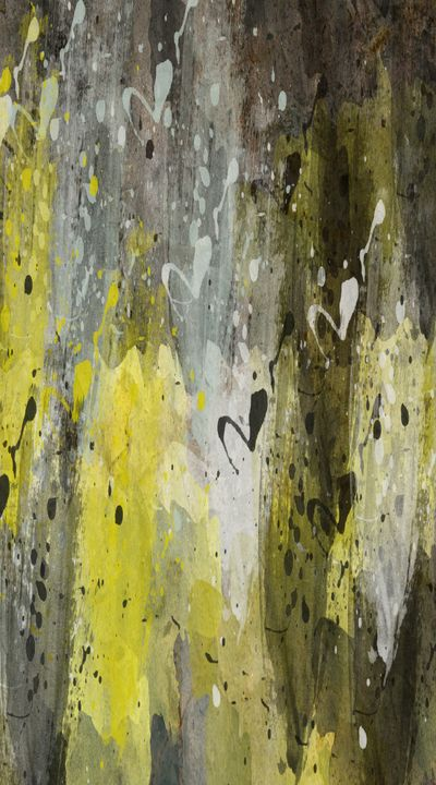 Yellow, Black, and White Abstract - JHughes Works of Art