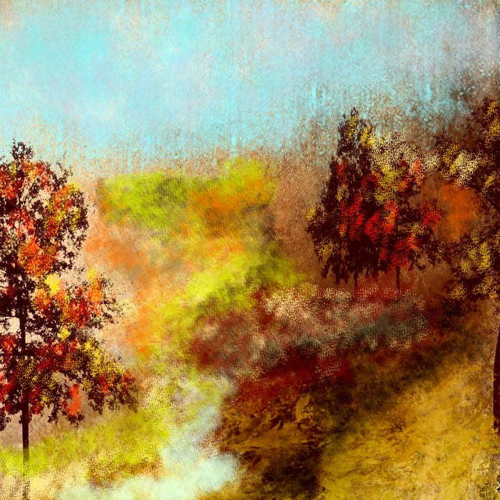 Autumn Trees by the Spring - JHughes Works of Art