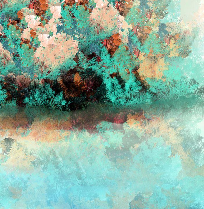 Aqua and Copper Tropical Landscape - JHughes Works of Art