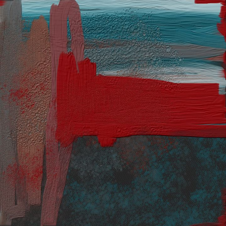 Blue and Red Abstract - JHughes Works of Art