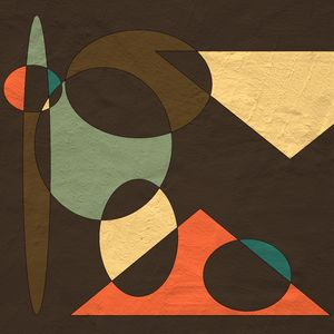 Orange, Blues, and Browns Geometric - JHughes Works of Art