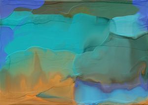 Layered Liquid Aqua-Blue and Gold