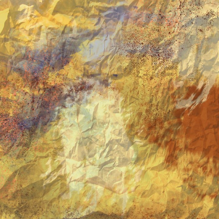 Golden Abstract with Purple and Rust - JHughes Works of Art
