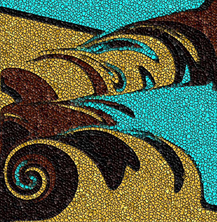 Aqua, Brown, and Gold Mosaic Design - JHughes Works of Art