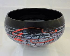 black and white w/ red crackle bowl - Scorza Art Glass