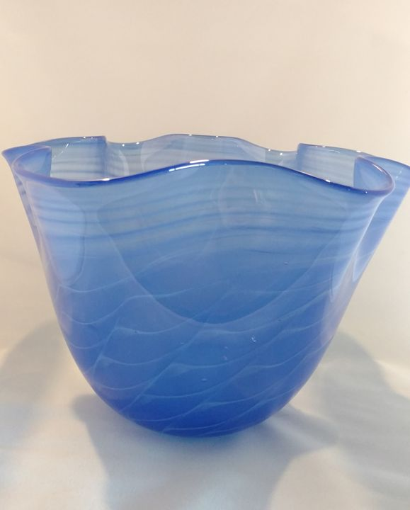 Blue wavy bowl - Scorza Art Glass
