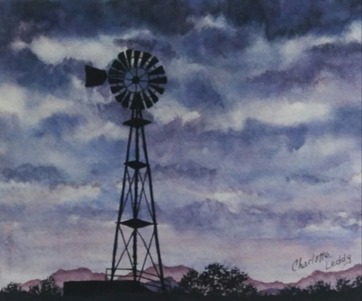 Windmill Sky - Charlotte Leddy Watercolor - Prints and Cards Only