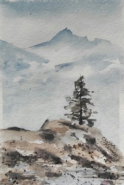 Mountain Tree - Charlotte Leddy Watercolor - Prints and Cards Only