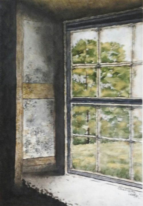 Old Rusty Window - Charlotte Leddy Watercolor - Prints and Cards Only