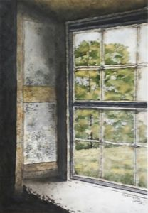 Old Rusty Window - Charlotte Leddy Watercolor - Prints
