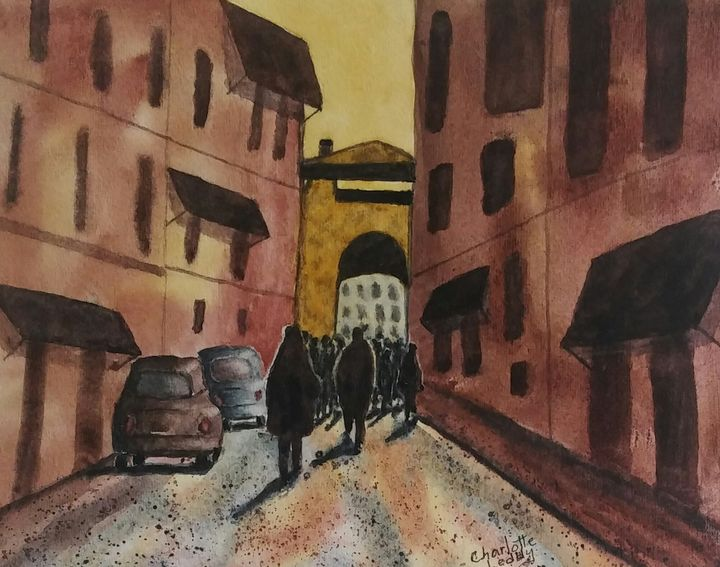 Downtown Meeting - Charlotte Leddy Watercolor - Prints and Cards Only