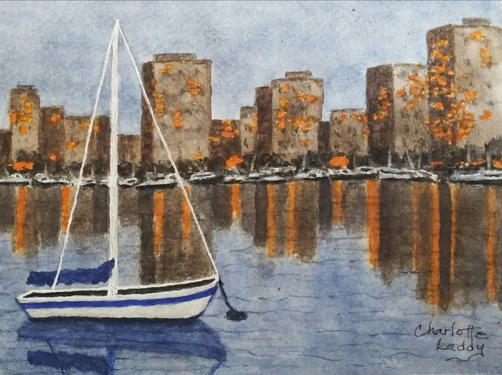 Sail Boat at Milwaukee Shore - Charlotte Leddy Watercolor - Prints and Cards Only