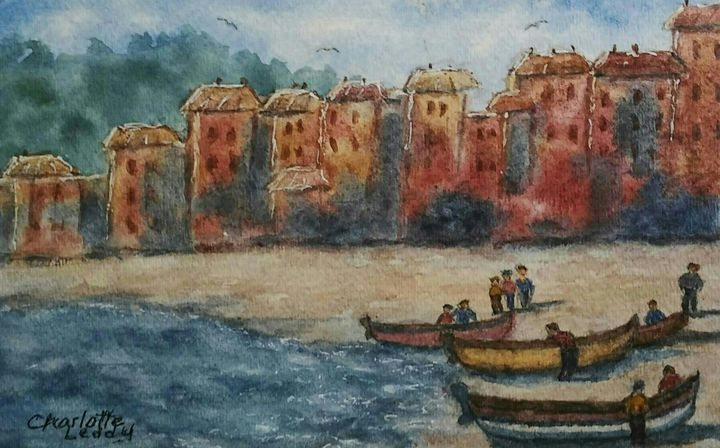 Italian Seascape - Charlotte Leddy Watercolor - Prints and Cards Only