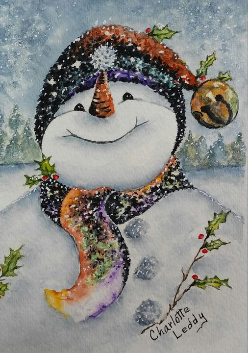 Happy Snowman - Charlotte Leddy Watercolor - Prints and Cards Only