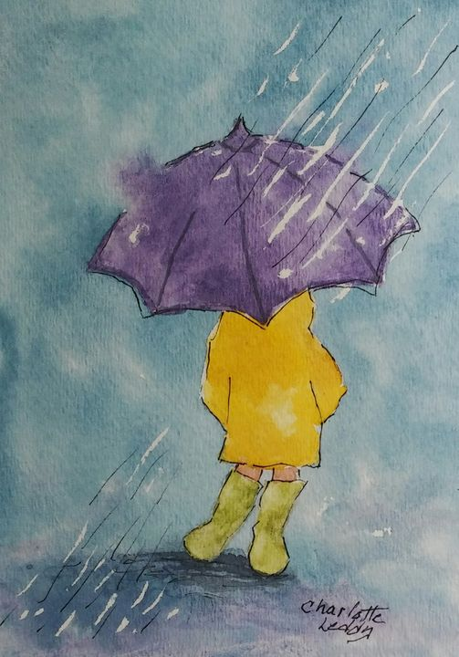 In The Rain - Charlotte Leddy Watercolor - Prints and Cards Only