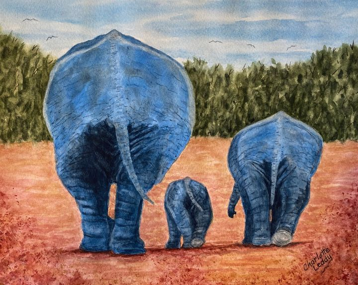 Mama Elephant and Babies - Charlotte Leddy Watercolor - Prints