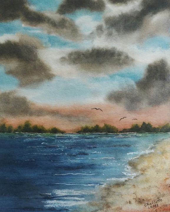 Clouds at the Lake - Charlotte Leddy Watercolor - Prints and Cards Only