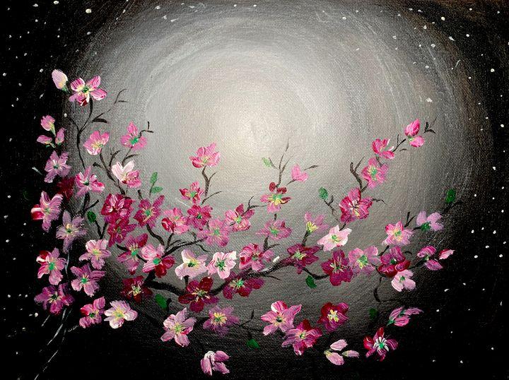 Flowers In The Moonlight - ARTARTANDMOREART