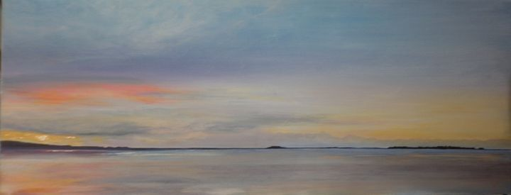 silver and orange seascape - sjcurtisarts