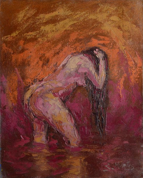 Amazon woman bathing - Story Art Gallery