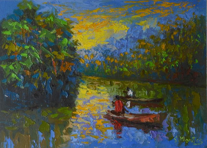 Dusk on the Amazon river - Story Art Gallery