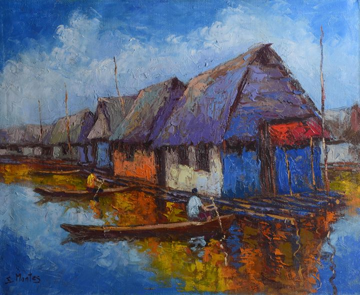Market on Amazon river - Story Art Gallery