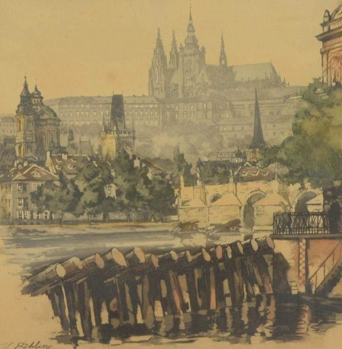 Prague castle across Vltava river - Story Art Gallery