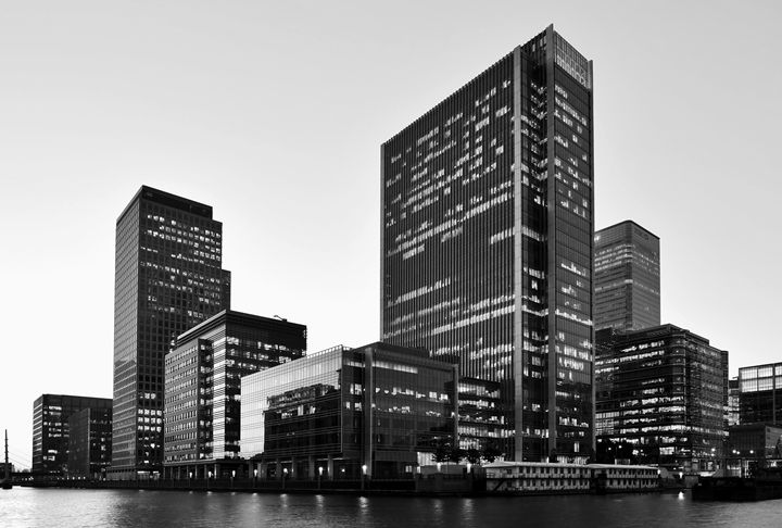 London Docklands Skyline B&W - Marek Stepan Photographer
