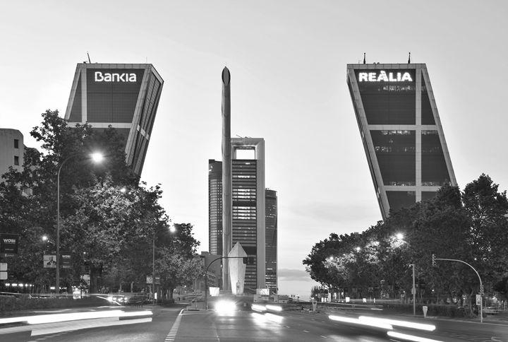 Madrid Puerta De Europa B&W - Marek Stepan Photographer