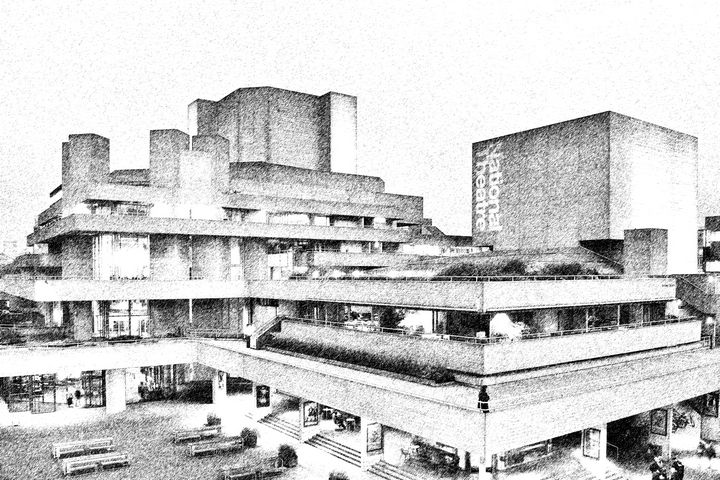 London National Theatre Drawing - Marek Stepan Photographer