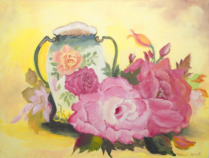 The Still Life of Roses - Oil Paintings by Haley Mueller