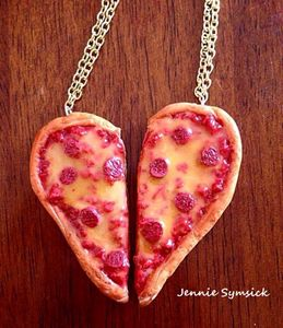 Pizza Heart Couple Necklace!
