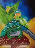 Frogs acrylic painting